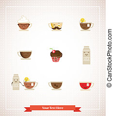 Colorful retro hipsters icons of coffee, tea, milk and...