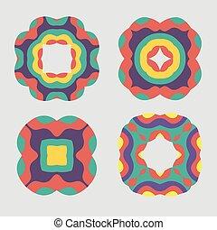 Colorful retro ornament pattern set