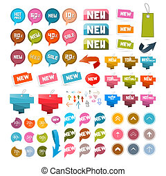 Colorful Retro Paper Set of Discount and New Vector Labels, Tags, Arrows