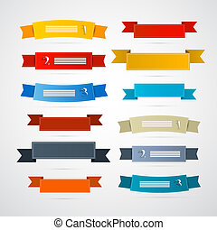 Colorful Retro Ribbons, Labels Set