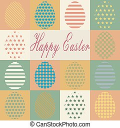 Colorful retro set of isolated Easter eggs.