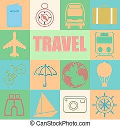 Colorful retro set of travel