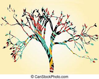 Colorful retro tree tan gradient bo