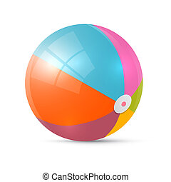 Colorful Retro Vector Beach Ball Isolated on White Background
