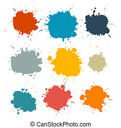 Colorful Retro Vector Stains, Blots, Splashes Set