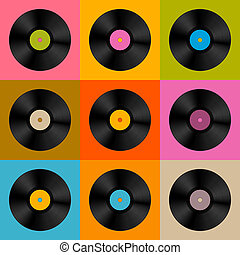 Retro, Vintage Vector Vinyl Record Disc Background -...