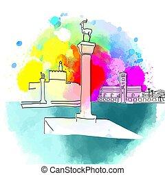 Colorful Rhodes Greece travel destination. Hand-drawn vector...