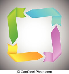Colorful Ribbon Arrow Round Rectangle