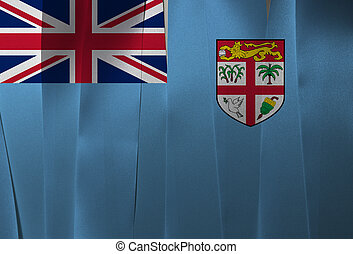 Colorful ribbon as Fiji national flag, A Light Blue Ensign with the Fijian shield of arms taken from the National Coat of Arms centred.