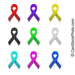 Colorful ribbon for celebration on white background, 3D illustration