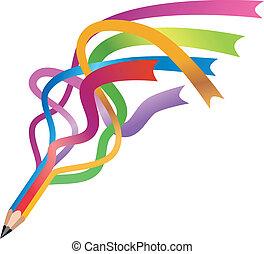colorful ribbon pencil vector