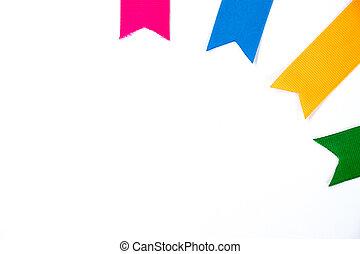 Colorful ribbon (Pink, blue, orange, yellow, green) on white background