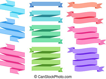 colorful ribbon set, vector