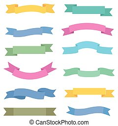 Colorful ribbon set, vector design elements