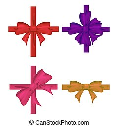 Colorful ribbon with bow set. Tape decor for present