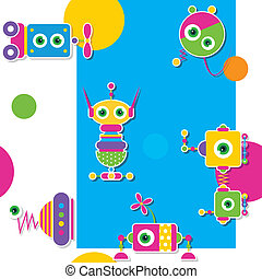 colorful robots collection pattern