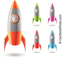Colorful Rockets with Grey Bodies