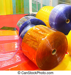 Colorful rolls of pvc sheet