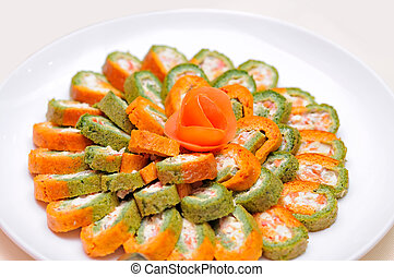 Colorful rolls on the plate