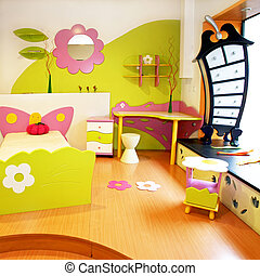 Interior of children room with colorful furniture
