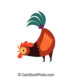 Colorful Rooster Crowing, Farm Cock, Side View, Poultry Farming Vector Illustration