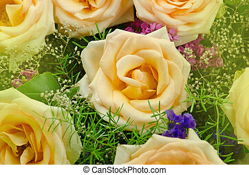Colorful roses flower bouquet. Bouquet of yellow roses
