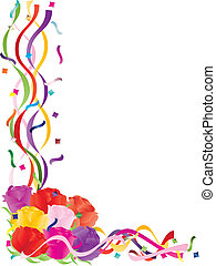Colorful Roses in Confetti Border Illustration - Colorful...