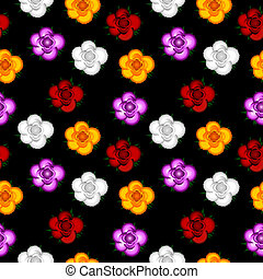Colorful roses seamless pattern background.