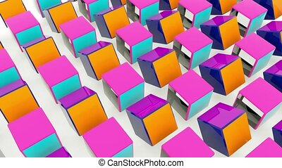 Colorful rotating cubes. Abstract 3d rendering of geometric shapes. Computer generated loop animation.