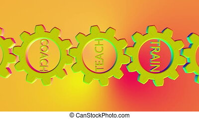 Colorful rotating gears with teach,coach ,train concept