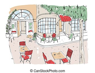 Colorful rough drawing of outdoor cafe, restaurant or...