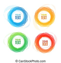 Colorful Round Abstract Banners Shape Set. Vector