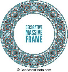Colorful round ornamental frame, vector illustration, blue brown