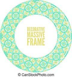 Colorful round ornamental frame, vector illustration, bright blue