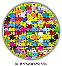 colorful round puzzle - Illustration of a colorful round...