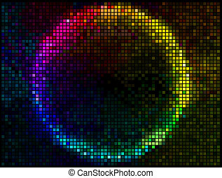 Colorful Round Square Pixel Mosaic Vector Banner. Multicolor Abstract Beautiful Lights Disco Club Background