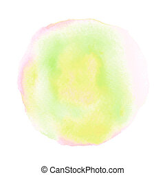 Colorful round watercolor on white background