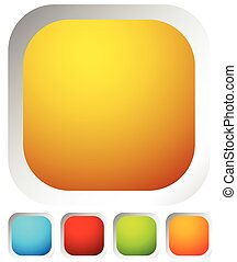 Colorful rounded button background with empty, blank space for your icons, symbols