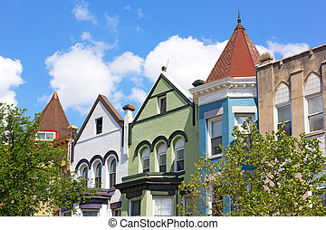 Colorful row houses in US capital