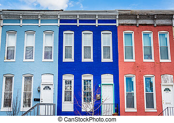 Colorful row houses on Howard Street, in Old Goucher, Baltimore, Maryland.