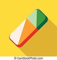 Colorful rubber pencil eraser icon, flat style