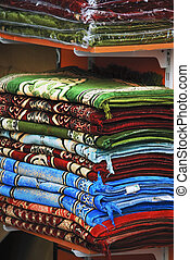 Colorful rugs at the market in Dubai