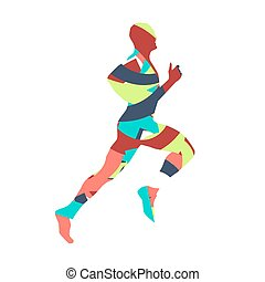 Colorful runner. Abstract vector silhouette. Red, green, blue, orange. Flat design