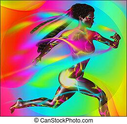 Colorful Runner Girl