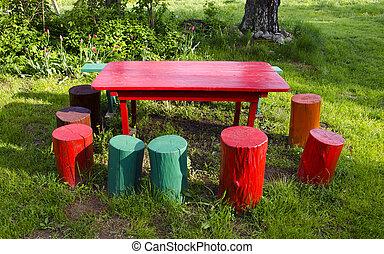 colorful rural garden furniture
