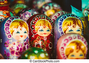 Colorful Russian Nesting Dolls Matreshka Matrioshka At Market
