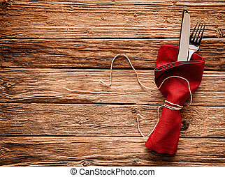 Colorful rustic festive place setting with copyspace
