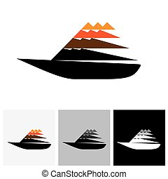 Colorful sailboat or yatch vector logo icon moving fast