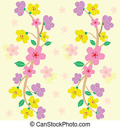 colorful sakura seamless pattern vector