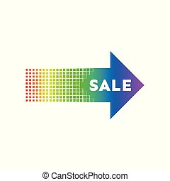 Colorful sale arrow banner with explosion